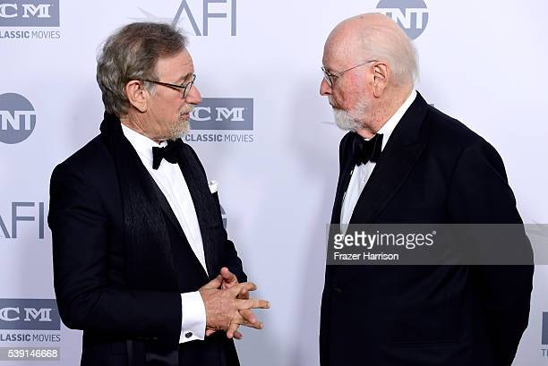 Director Steven Spielberg and John Williams pose during the mock presentation at American Film Institute's 44th Life Achievement Award Gala Tribute...