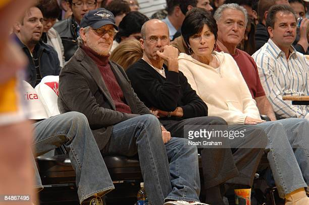 Director Steven Spielberg and Producer Jeffrey Katzenberg watch a game from courtside between the Atlanta Hawks and the Los Angeles Lakers at Staples...