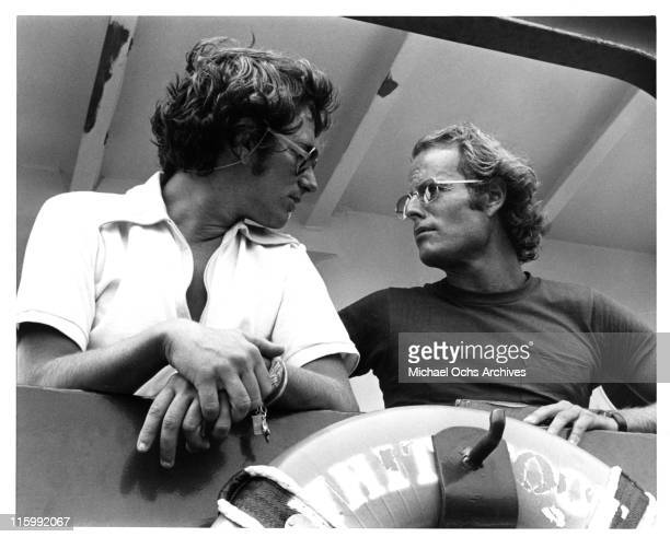 Director Steven Spielberg and producer Richard Zanuck on the set of the Universal Pictures production of 'Jaws' in 1975 in Martha's Vineyard...
