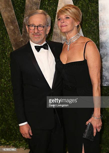 Director Steven Spielberg and wife actress Kate Capshaw attend the 2013 Vanity Fair Oscar Party at the Sunset Tower Hotel on February 24, 2013 in...