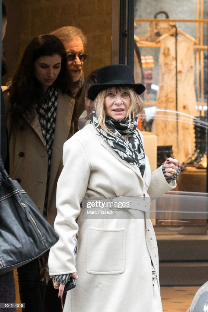Director Steven Spielberg and wife Kate Capshaw are seen leaving the 'Dior' store on Rue Saint Honore on January 12, 2018 in Paris, France.