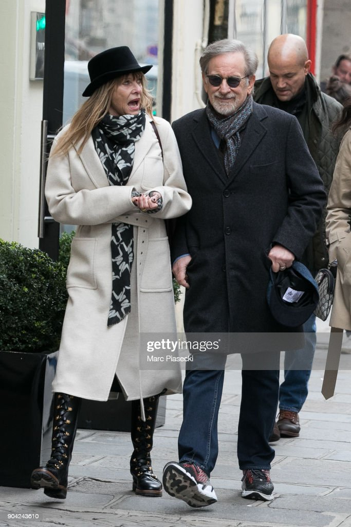 Director Steven Spielberg and wife Kate Capshaw are seen on Rue Saint Honore on January 12, 2018 in Paris, France.