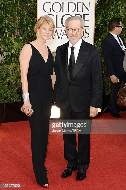 Director Steven Spielberg and wife Kate Capshaw arrive at the 70th Annual Golden Globe Awards held at The Beverly Hilton Hotel on January 13 2013 in...
