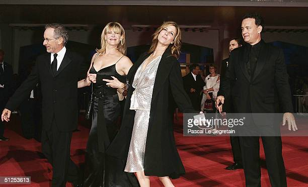 """Director Steven Spielberg and wife Kate Capshaw with US actor Tom Hanks and wife Rita Wilson attend """"The Terminal"""" Opening Night Premiere at the 61st..."""