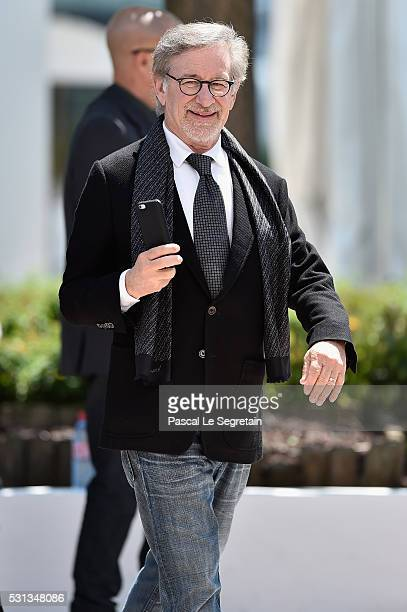Director Steven Spielberg attends The BFG photocall during the 69th annual Cannes Film Festival at the Palais des Festivals on May 14 2016 in Cannes...