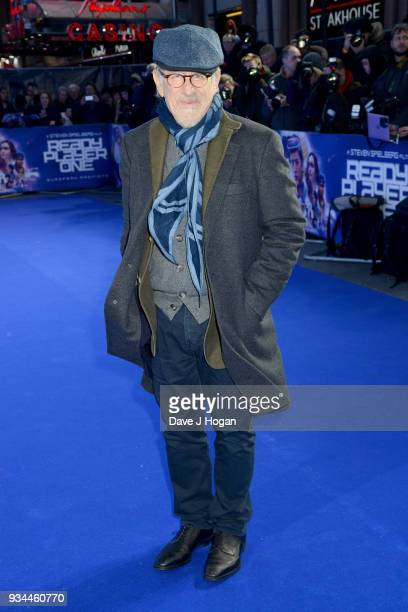 Director Steven Spielberg attends the European Premiere of 'Ready Player One' at Vue West End on March 19 2018 in London England