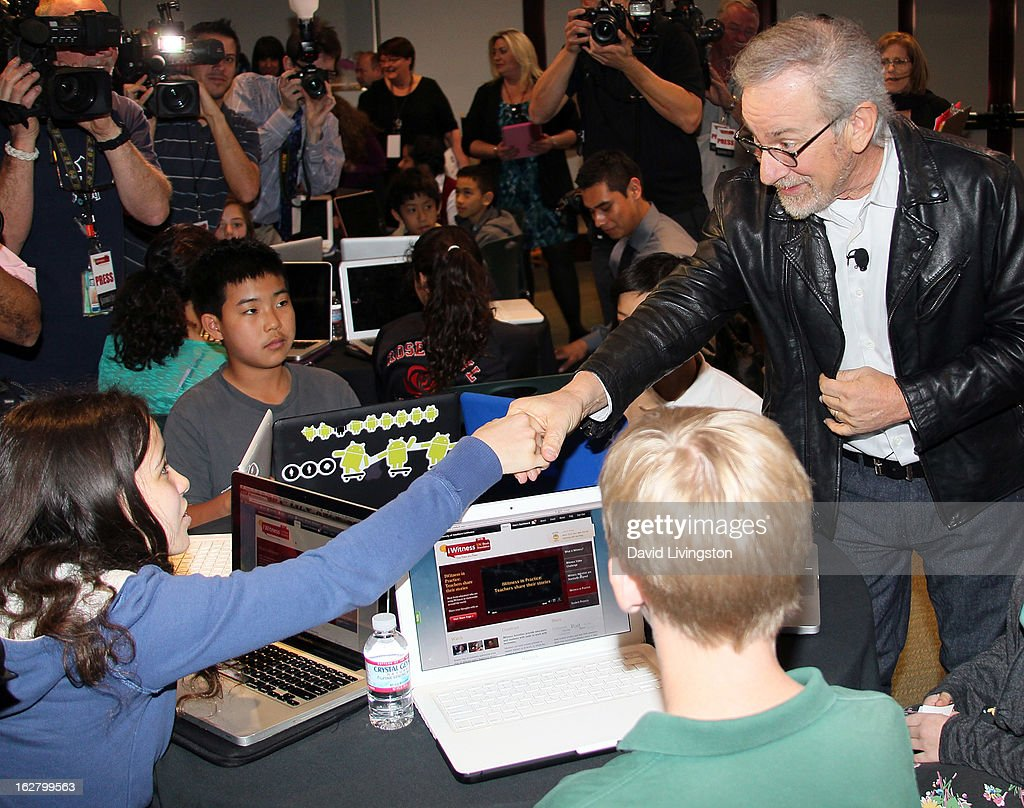 Director Steven Spielberg (R) attends the 'Schindler's List' 20th Anniversary Limited Edition DVD/Blu-ray & USC Shoah Foundation's IWitness Video Challenge launch event at The Chandler School on February 27, 2013 in Pasadena, California.