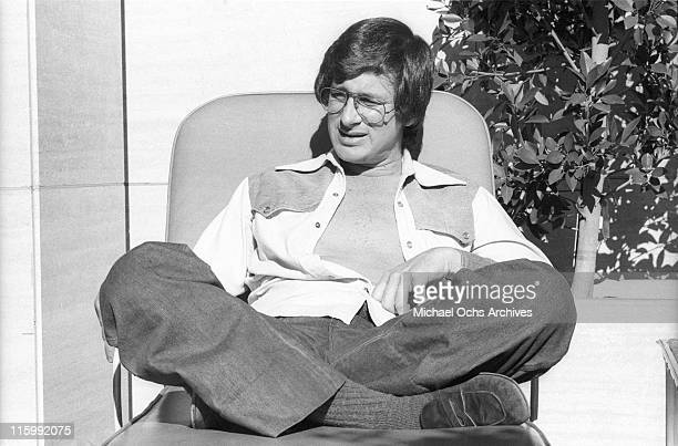 Director Steven Spielberg catches some sun outside his Universal studios office in December 1975 in Los Angeles California