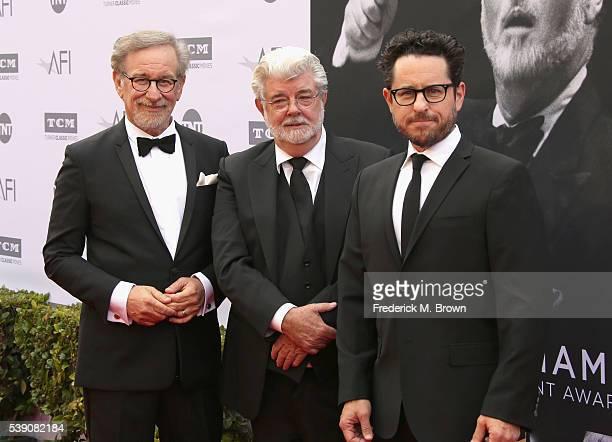 Director Steven Spielberg, filmmaker George Lucas and filmmaker J.J. Abrams arrive at the American Film Institute's 44th Life Achievement Award Gala...
