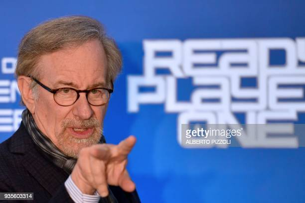 US director Steven Spielberg gestures as he poses during a photocall ahead of the premiere of his last movie Ready Player One on March 21 2018 in...
