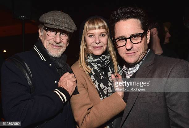Director Steven Spielberg Kate Capshaw and director JJ Abrams attend the Oscar Wilde Awards at Bad Robot on February 25 2016 in Santa Monica...