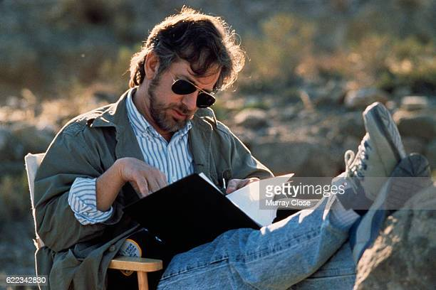 Director Steven Spielberg on the set of his film Indiana Jones and the Last Crusade