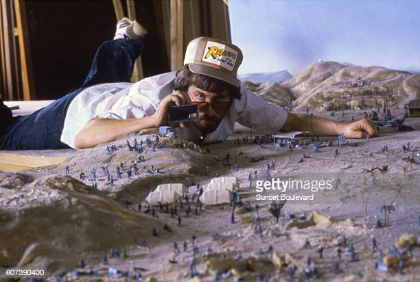 Director Steven Spielberg on the set of Raiders of the Lost Ark