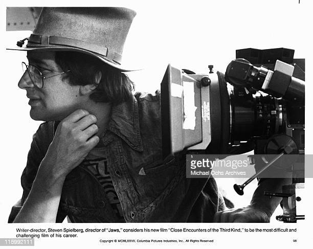 Director Steven Spielberg on the set of the Columbia Pictures production of 'Close Encounters of the Third Kind' in 1977 i