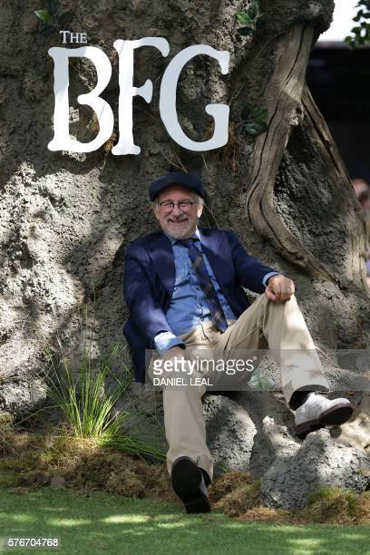 US director Steven Spielberg poses as he arrives to attend the UK premeiere of the film The BFG in Leicester Square central London on July 17 2016 /...