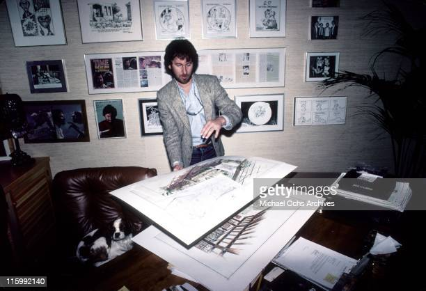 Director Steven Spielberg poses for a photo at his Ambin Productions office on the Universal studios lot in February 1983 in Los Angeles California