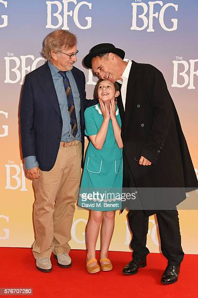 "Director Steven Spielberg, Ruby Barnhill and Mark Rylance attend the UK Premiere of ""The BFG"" at Odeon Leicester Square on July 17, 2016 in London,..."