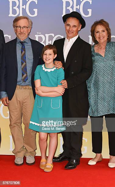 "Director Steven Spielberg, Ruby Barnhill, Mark Rylance and Dame Penelope Wilton attend the UK Premiere of ""The BFG"" at Odeon Leicester Square on July..."