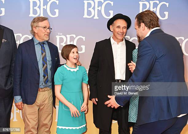 "Director Steven Spielberg, Ruby Barnhill, Mark Rylance and Rafe Spall attend the UK Premiere of ""The BFG"" at Odeon Leicester Square on July 17, 2016..."