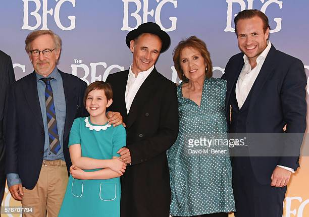 "Director Steven Spielberg, Ruby Barnhill, Mark Rylance, Dame Penelope Wilton and Rafe Spall attend the UK Premiere of ""The BFG"" at Odeon Leicester..."