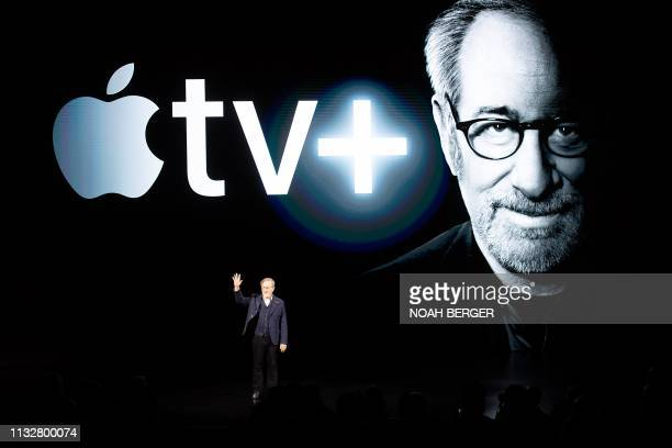 TOPSHOT Director Steven Spielberg speaks during an event launching Apple tv at Apple headquarters on March 25 in Cupertino California