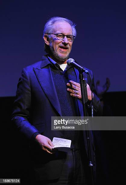 Director Steven Spielberg speaks onstage at NYFF 50th Anniversary surprise screening of Lincoln at Alice Tully Hall on October 8 2012 in New York City