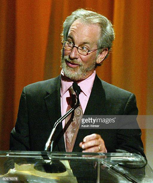 Director Steven Spielberg speaks onstage at the 2004 Crystal Lucy Awards A Family Affair Women in Film Celebrates The Paltrow Family at the Century...