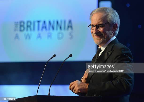Director Steven Spielberg speaks onstage at the 2012 BAFTA Los Angeles Britannia Awards Presented By BBC AMERICA at The Beverly Hilton Hotel on...