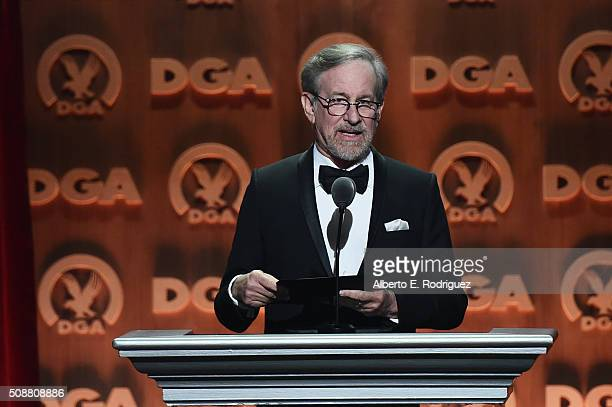 Director Steven Spielberg speaks onstage at the 68th Annual Directors Guild Of America Awards at the Hyatt Regency Century Plaza on February 6 2016...