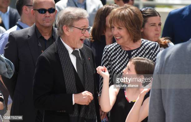 Director Steven Spielberg, US actress Ruby Barnhill, and British actress Penelope Wilton pose during the photocall for 'The BFG' at the 69th annual...