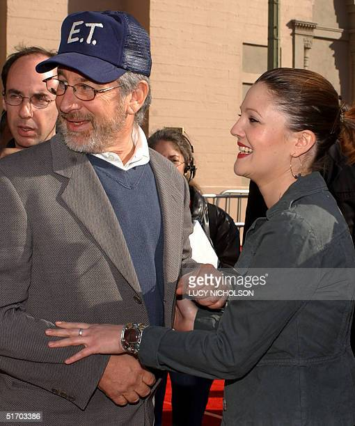 US director Steven Spielberg welcomes original cast member Drew Barrymore to a 20th anniversary version premiere of his film ET The ExtraTerrestrial...