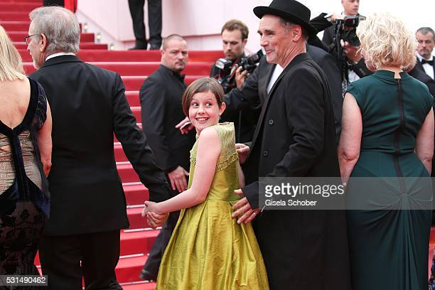 "Director Steven Spilberg, actors Ruby Barnhill, Mark Rylance and Claire van Kampen attend ""The BFG "" premiere during the 69th annual Cannes Film..."
