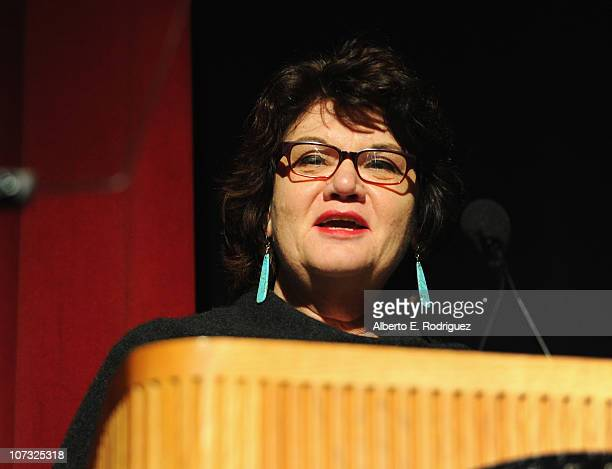 Director Susan Raymond speaks at the International Documentary Association's 26th annual awards ceremony at the Directors Guild Of America on...