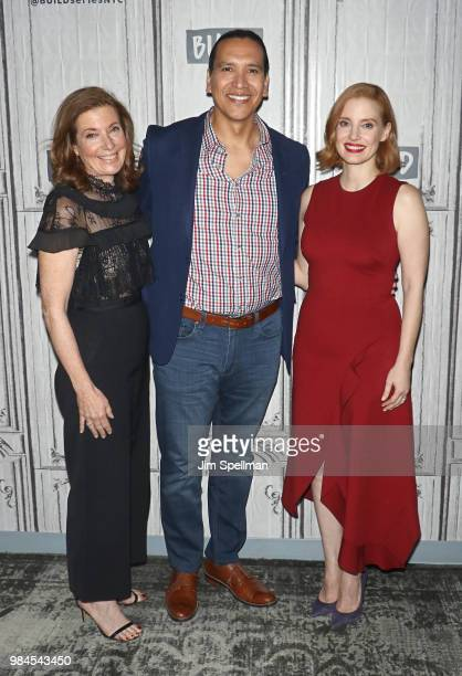 Director Susanna White actors Michael Greyeyes and Jessica Chastain attend the Build Series to discuss 'Woman Walks Ahead' at Build Studio on June 26...