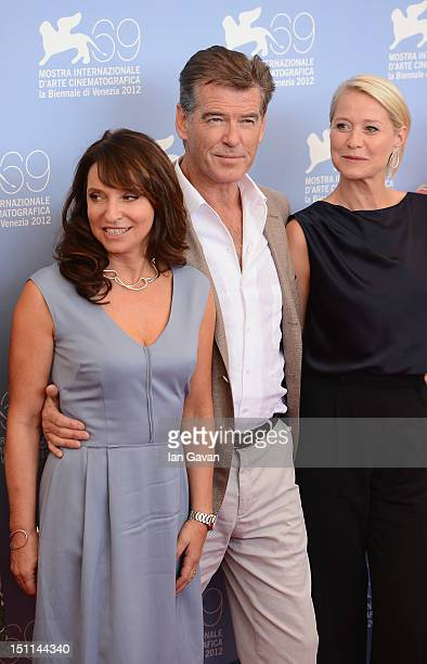 Director Susanne Bier actor Pierce Brosnan and actress Trine Dyrholm attend the 'Love Is All You Need' photocall during The 69th Venice Film Festival...