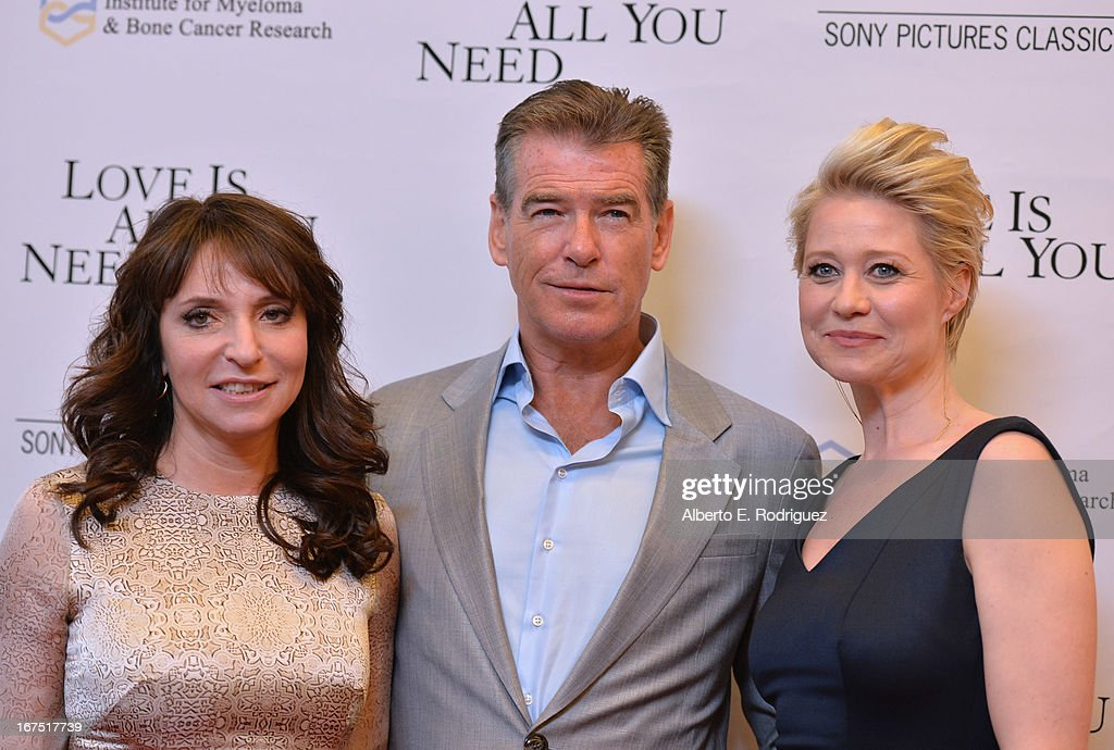 Director Susanne Bier, actor Pierce Brosnan and actress Trine Dyrholm arrive to the premiere of Sony Pictures Classics' 'Love Is All You Need' at Linwood Dunn Theater at the Pickford Center for Motion Study on April 25, 2013 in Hollywood, California.