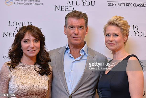 Director Susanne Bier actor Pierce Brosnan and actress Trine Dyrholm arrive to the premiere of Sony Pictures Classics' Love Is All You Need at...