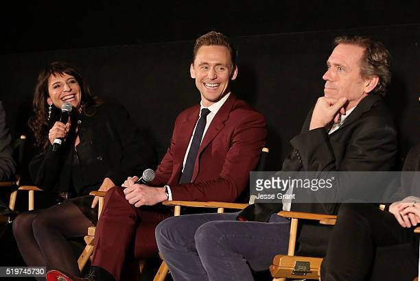 Director Susanne Bier actors Tom Hiddleston and Hugh Laurie attend the ATAS/SAG Panel and Screening of AMC's The Night Manager at the Egyptian...