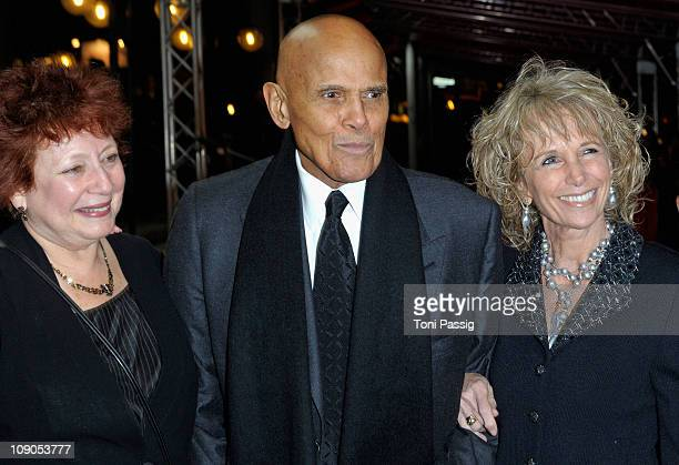Director Susanne Rostock and Harry Belafonte with wife Pamela attend the 'Sing Your Song' Premiere during day four of the 61st Berlin International...