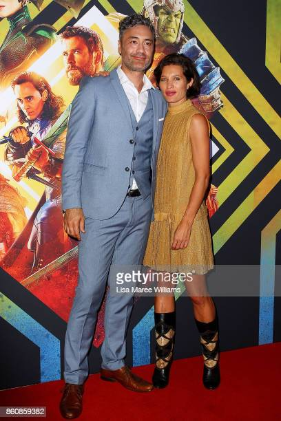 Director Taika Waitit and Chelsea Winstanley arrives for the Australian Premiere of Thor Ragnarok on October 13 2017 in Gold Coast Australia