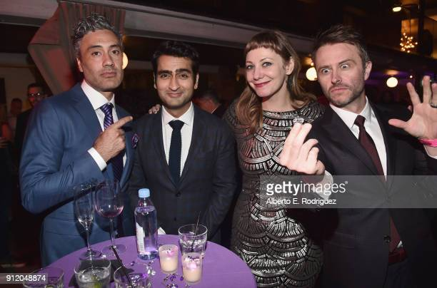Director Taika Waititi actor Kumail Nanjiani writer Emily V Gordon and TV personality Chris Hardwick at the Los Angeles World Premiere of Marvel...