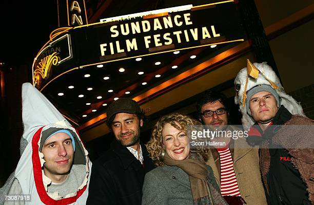 Director Taika Waititi actress Loren Horsley and actor Jemaine Clement attend the premiere of the film Eagle vs Shark at the Eygptian Theatre during...