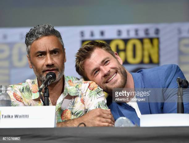Director Taika Waititi and actor Chris Hemsworth from Marvel Studios' 'Thor: Raganrok' at the San Diego Comic-Con International 2017 Marvel Studios...