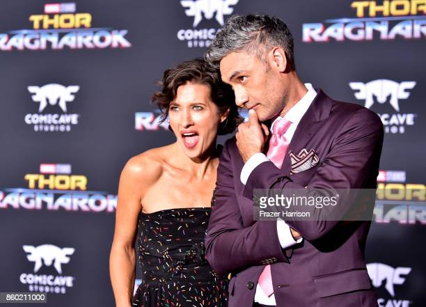 Director Taika Waititi and Chelsea Winstanley arrive at the Premiere Of Disney And Marvel's Thor Ragnarok on October 10 2017 in Los Angeles California