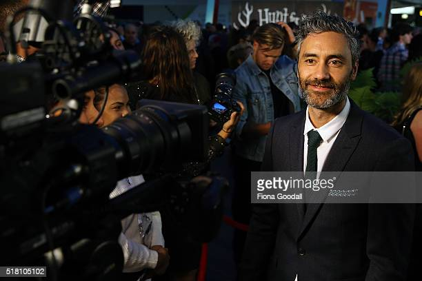 Director Taika Waititi speaks to media as he arrives ahead of the New Zealand premiere of Hunt For The Wilderpeople on March 30 2016 in Auckland New...