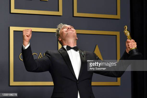 """Director Taika Waititi winner of the Adapted Screenplay award for """"Jojo Rabbit"""" poses in the press room during the 92nd Annual Academy Awards at..."""