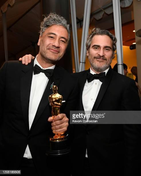 "Director Taika Waititi, winner of the Adapted Screenplay award for ""Jojo Rabbit"" and Joaquin Phoenix, winner of the Actor in a Leading Role award for..."
