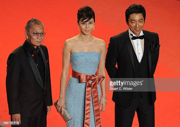 Director Takao Osawa and actors Nanako Matsushima and Takashi Miike attend the 'Wara No Tate' Premiere during the 66th Annual Cannes Film Festival at...