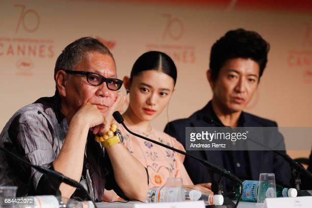 Director Takashi Miike actress Hanna Sugisaki and actor Takuya Kimura attend the 'Blade Of The Immortal ' press conference during the 70th annual...