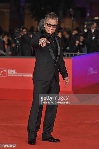 Director Takashi Miike attends the Opening Night and Waiting For The Sea Premiere during the 7th Rome Film Festival at the Auditorium Parco Della...